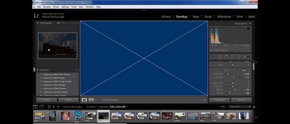 Blue Screen in Adobe Lightrom