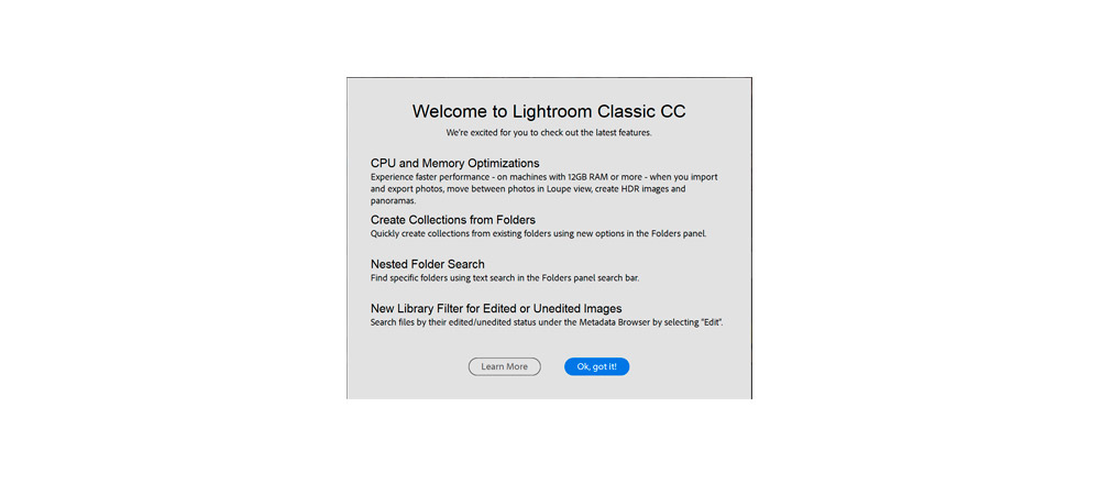 Lightroom Classic CC update